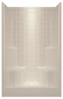 Aquarius AcrylX ™ 48 x 34.625 Shower Simulated Tile Pattern |2 Molded Seats Center Drain G4834SH2STile