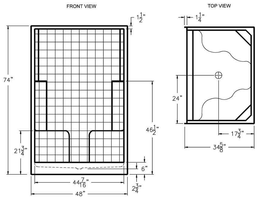 Aquarius AcrylX ™ 48 x 34.625 Shower Simulated Tile Pattern |2 Molded Seats Center Drain G4834SH2STile