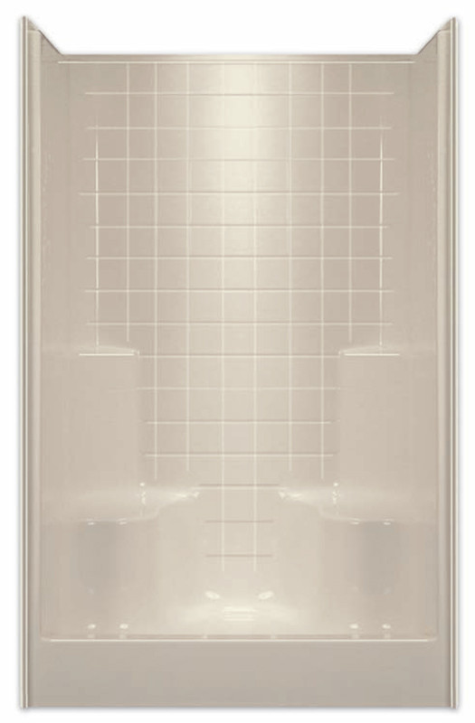 Aquarius ACRYLX™ 48W x 35.5D x 74H Shower | four inch simulated tile pattern | two molded seats | soap dishes. Center Drain G4899SH2STile