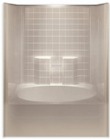 Aquarius ACRYLX™ | One Piece Tub Shower | Simulated Tile Pattern | 60W x 42D x 74.5H | RH Drain | G6042TSTileR , low price shower, best price shower, cheap one piece shower, grab bar shower, cheap shower, Discount shower, aging in place shower, accessible showers