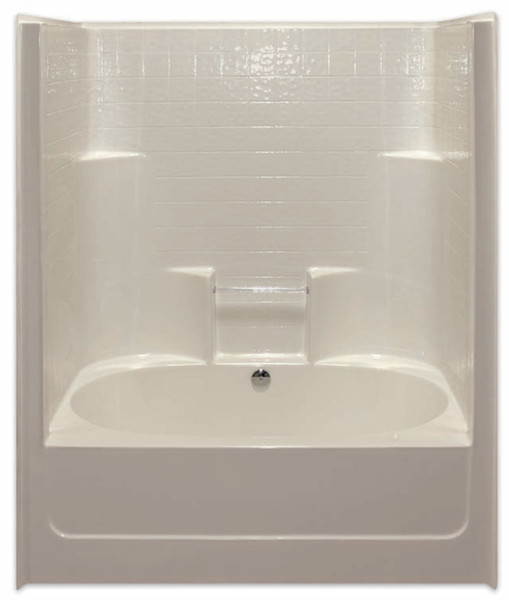 Aquarius AcrylX™ 60 x 43.25 Tub Shower Combo Simulated Tile Pattern Center Drain G6042TSCDTile