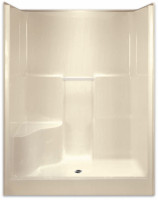 AQUARIUS ACRYLX™ 60W X 36.5D X 78.25H SHOWER WITH SOAP DISHES AND ONE MOLDED SEAT. DRAIN LOCATION: CENTER G6077SH1SR