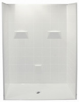 Aquarius AcrylX™ | Barrier-free | 5-Piece Reinforced shower | 8 inch tile pattern walls | Pre-leveled EasyBase™ | 60W x 49D x 78H | Center Drain | MP 6048 BF 5P 1.125, remodel shower, multi-piece shower, 5 piece shower, low threshold shower, 5 piece, five piece shower, sectional shower, accessible shower, Barrier Free shower, low price shower, best price shower, cheap one piece shower, grab bar shower, cheap shower, Discount shower, aging in place shower, accessible showers, cheap shower base, discount shower base,