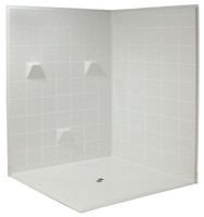 Aquarius AcrylX™ | Multi-Piece | Double-entry  | Reinforced | Barrier Free Shower with EasyBase™ | 61W x 61D x 78H | Center Drain | MP 6060 BF 3P 1.25 , barrier free shower, accessible shower, handicap shower, cheap shower, low price shower, discount shower,  easy access shower,  multi-piece shower