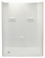 "Aquarius 50"" x 50"" Barrier Free Gelcoat Shower Stall | 5-Piece | 1"" Threshold  Drain Center - MP 5050 BF 5P 1.0"