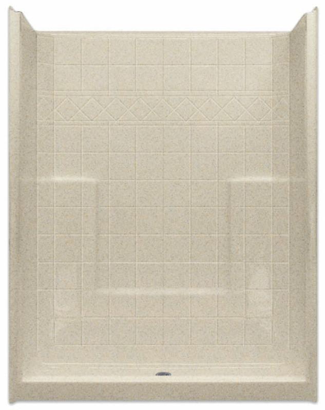 Aquarius Millennia 60 x 33 AcrylX™ Shower Tile Pattern Center Drain M6033SHNSTile