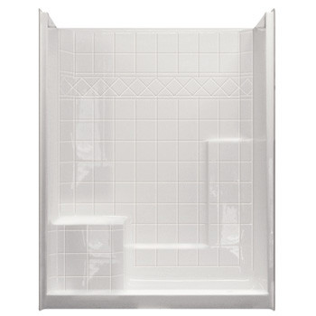 "Aquarius AcrylX™ | One piece Shower | 6"" Tile Pattern walls with 21"" Comfort Height Seat 
