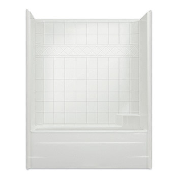 "Aquarius AcrylX™ | Reinforced Tub Shower Combo | 6"" Tile Pattern Wall 