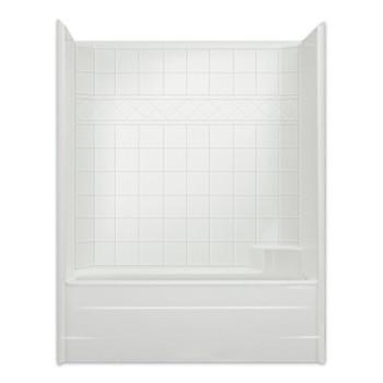 "Aquarius AcrylX™ | Reinforced Tub Shower Combo | 6"" Tile Pattern Wall | 60W x 33D x 76H | CHM 6032 TS,  tub shower, shower tub,  cheap shower, discount tub shower, best price shower tub,  low price tub shower,  one piece tub shower, 1-piece tub shower. fiberglass shower. bathtub,  one piece bathtub, one piece tub shower, one piece bathtub shower, 1 piece bathtub shower"
