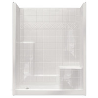 "Aquarius ACRYLX™ 60W x 36D x 77H Shower | Tile Pattern Wall | 21"" Comfort Height Seat 