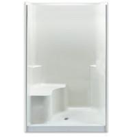 "Aquarius Gelcoat Smooth Wall Shower Enclosure 48"" x 37""   4"" Threshold   18"" Height Seat   2 Soap Ledges - CHG 4837 SH"