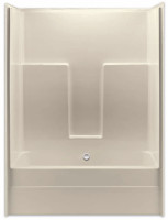 Aquarius Gelcoat 54 x 30.75 Residential Tub Shower Combination Smooth Wall w/ Center Drain - G5430TS