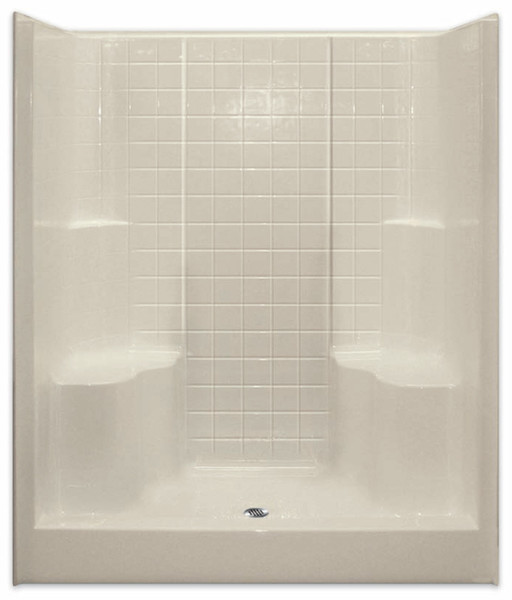 Aquarius ACRYLX™ 60W x 36D x 75H Shower Simulated Tile Pattern | 2 Molded Seats | Center Drain | G6099SH2STile