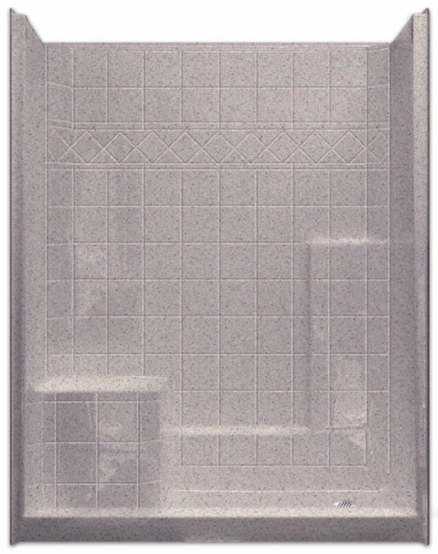 Aquarius | Millennia 60 x 33 | Gelcoat Shower | Tile Pattern | Molded Seat Left | M6032SH1STile