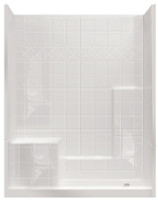 Aquarius Millennia 60 x 33 Gelcoat 3-Piece Shower With Tile Pattern - Molded Seat Left - Multi Piece - M 6032 SH 1S 3P Tile L