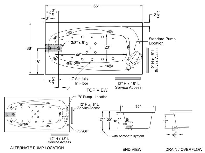 Aquarius Contractor Advantage Series 66 x 36 Drop In Acrylic Soaker Tub RN 6636