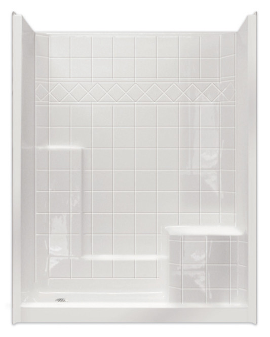 Aquarius AcrylX™ 60W x 33D x 79.5H | 3 Piece Shower | RH Molded Seat | MP 6032 SH 3P 1S 4.0 R | Sectional shower | remodel shower | multi-piece shower | 2 piece shower | low threshold | two piece | two piece shower | Cheap sectional shower | Discount standard sectional | low price shower | best price shower | cheap one piece shower | grab bar shower | cheap shower | Discount shower | aging in place shower | accessible showers |
