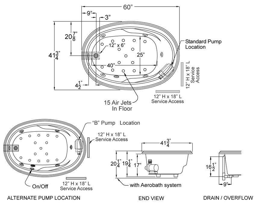 Aquarius Contractor Advantage Series 60 x 42 Drop In Oval Acrylic Soaker Tub - RN ORLN 5