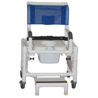 "Adjustable Shower Commode Chair - Ideal For Adult Seat Height Adjust From 16"" - 25"" Fits Patients 5' - 6'3"""