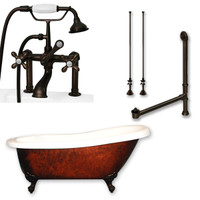 "Cambridge Plumbing - Acrylic Slipper Clawfoot Bathtub 61?x30"" Faux Copper Bronze Finish on Exterior with 7"" Deck Mount Faucet Drillings and Complete Oil Rubbed Bronze Plumbing Package"