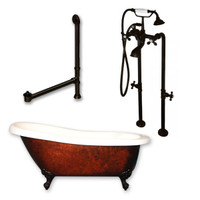 "Cambridge Plumbing - Acrylic Slipper Clawfoot Bathtub 61?x30"" Faux Copper Bronze Finish on Exterior with No Deck Mount Faucet Drillings and Complete Freestanding Oil Rubbed Bronze Plumbing Package"