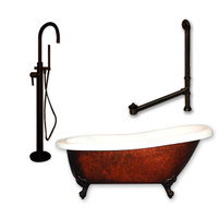 "Cambridge Plumbing - Acrylic Slipper Clawfoot Bathtub 61?x30"" Faux Copper Bronze Finish on Exterior with No Deck Mount Faucet Drillings and Complete Freestanding Oil Rubbed Bronze Plumbing Package 3"
