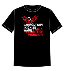 Lakȟól'iyapi Ikíčhize Waúŋ - I am a Lakota Language Warrior T-shirt Red (adult sizes)