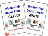 CLEAR & WHITE Water Slide Decal Paper A4 INKJET Sheets