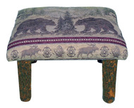 Rustic Hickory Small Stool Ottoman with Bear Mountain Fabric
