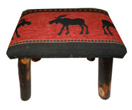 Rustic Hickory Small Stool Ottoman with Red Moose Fabric