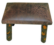 Rustic Hickory Small Stool Ottoman with Distressed Faux Leather Fabric