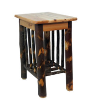 Rustic Solid Hickory End Table Night Stand with Spindle Sides