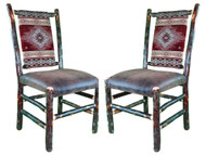Set of 2 Rustic Hickory Dining Chairs
