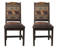 Barnwood Dining Chairs with Upholstered Seat & Back - Set of 2