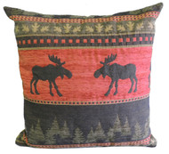 Premium Rustic Throw Pillow - Red Moose