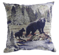 Premium Rustic Throw Pillow - Bear & Cub