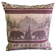 Premium Rustic Throw Pillow COVER ONLY- Bear Mountain