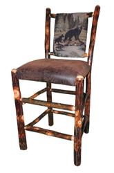 """Rustic Hickory Bar Stool 24"""" - Bear & Cub Fabric"""
