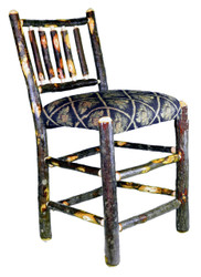 """Rustic Hickory Bar Stool with Spindle Back 24"""" - Pine Cone Fabric"""