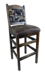 "24"" Barnwood Bar Stools Upholstered Seat & Back"
