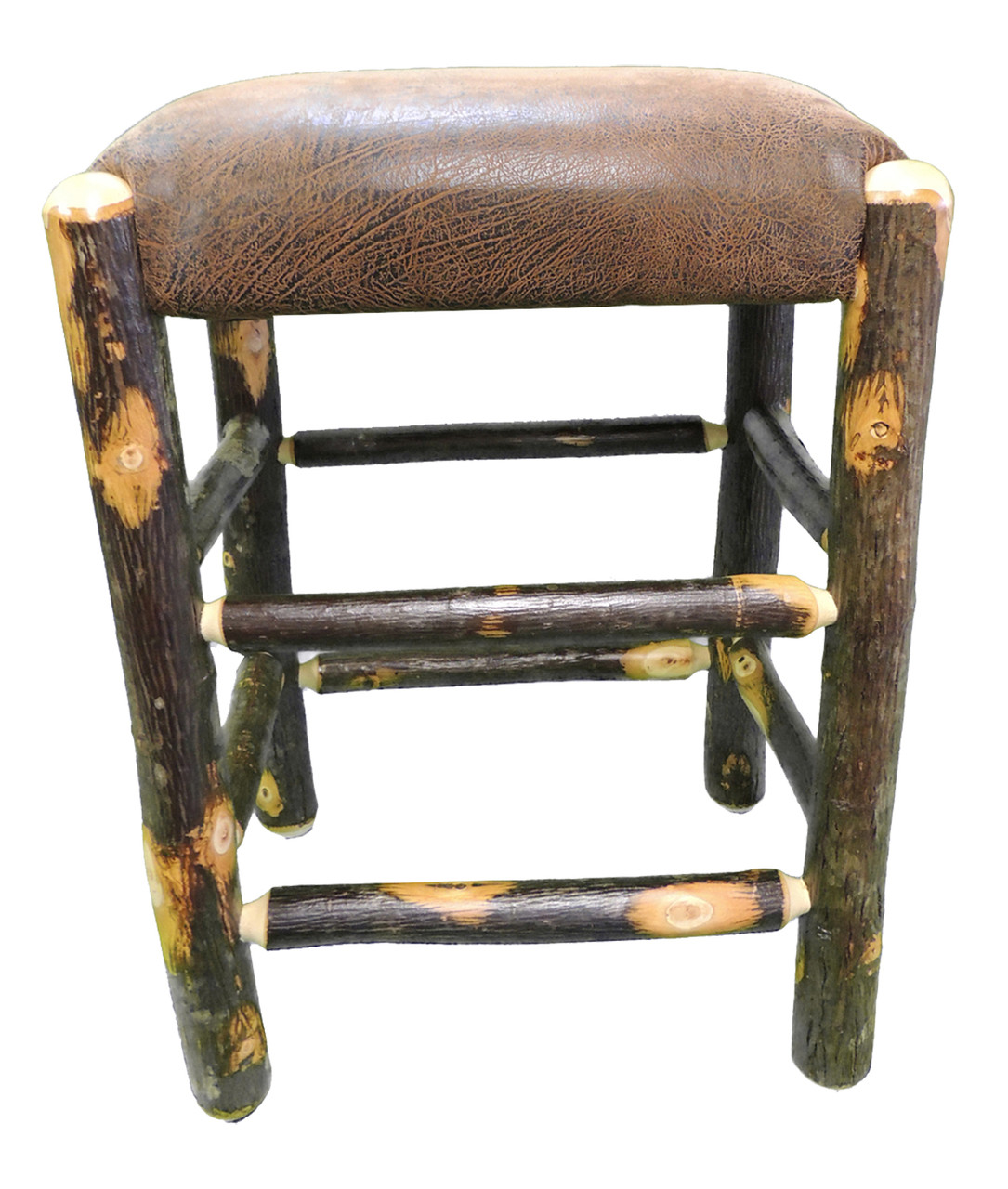 Rustic Hickory Backless Bar Stool 24 Quot Faux Leather Fabric