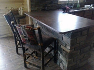 """Rustic Hickory Bar Stool 24"""" - Red Cabin Fabric - customer picture"""