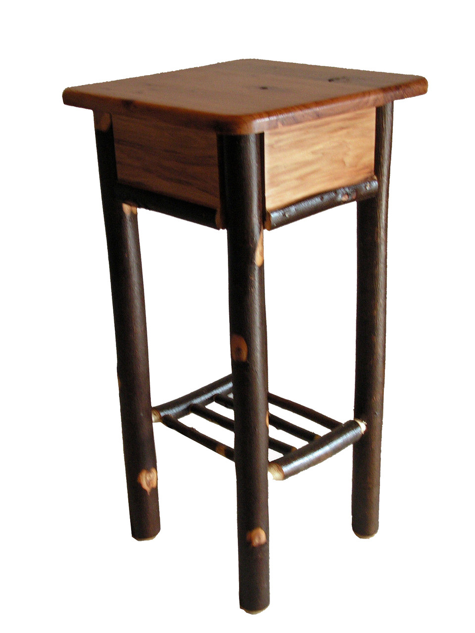 Picture of: Rustic Solid Hickory Tall Side Table Plant Stant