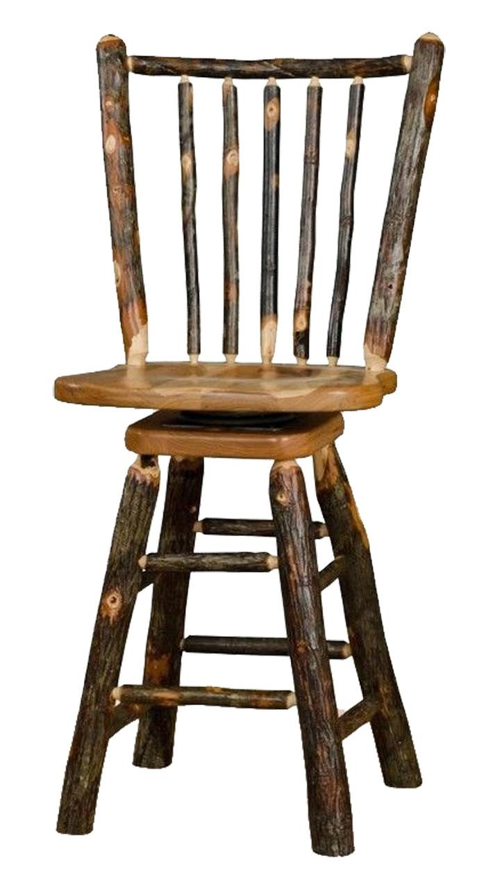 Image of: Rustic All Hickory Swivel Bar Stool 24 Spindle Back