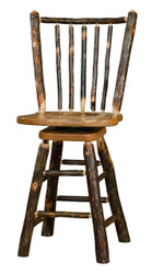 "Rustic All Hickory Swivel Bar Stool 24"" - Spindle Back"