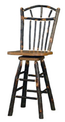 "Rustic Hickory & Oak Swivel Bar Stool 24"" - Wagon Wheel Spindle Back"