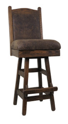 "Barnwood Swivel Bar Stool 24"" or 30"" with Upholstered Seat & Back"