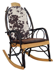 Amish Bentwood Rocker Cushion Set - Brown Faux Cow Hide Fabric
