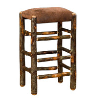 "Rustic Hickory Backless Bar Stools 30"" - Faux Leather"