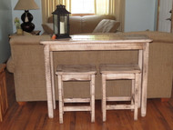 Farm House Distressed White Glazed Sofa Table Breakfast Bar with 2 Barnwood Bar Stools